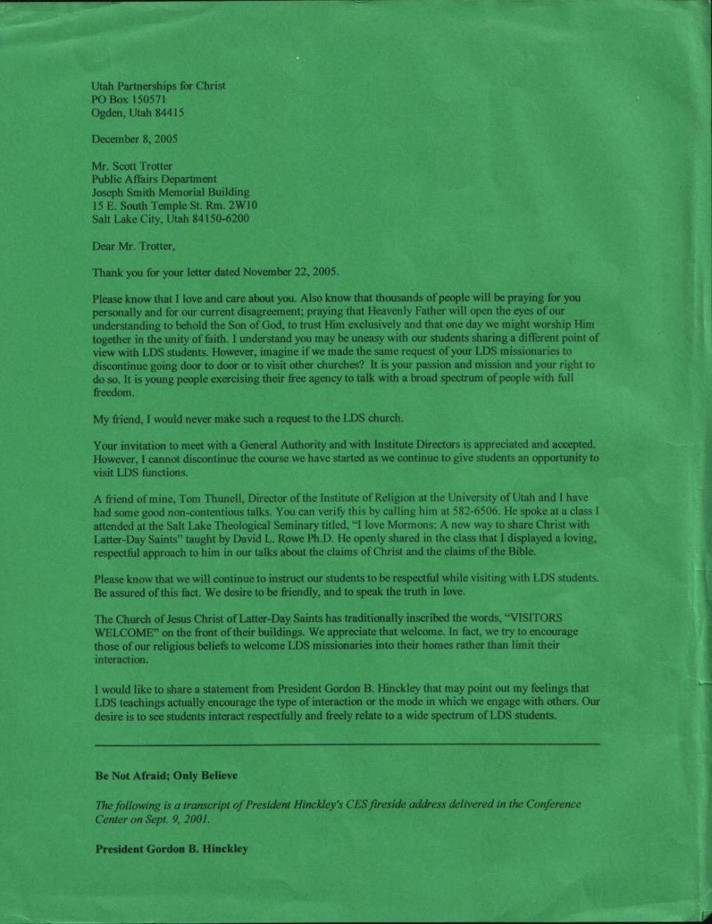Letter from upfc to lds church 2005